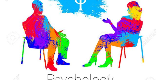 The psychologist and the client. Psychotherapy. Psycho therapeutic session. Psychological counseling. Man woman talking while sitting. Silhouette.Rainbow brush profile. Design concept sign modern.